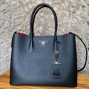 Prada Black/Red Saffiano Cuir Double Bag